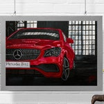 Mercedes Realistic painting digital download file /Decor digital /Car Acrylic painting /Living Room Wall Art /Car painting file /Fine art