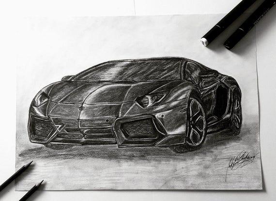 Items Similar To Lamborghini Aventador Drawing Lamborghini Car