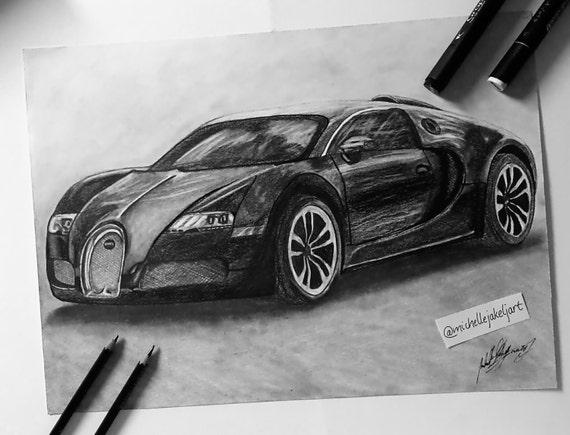 Items Similar To Bugatti Veyrondrawing Bugatti Car Drawing Car