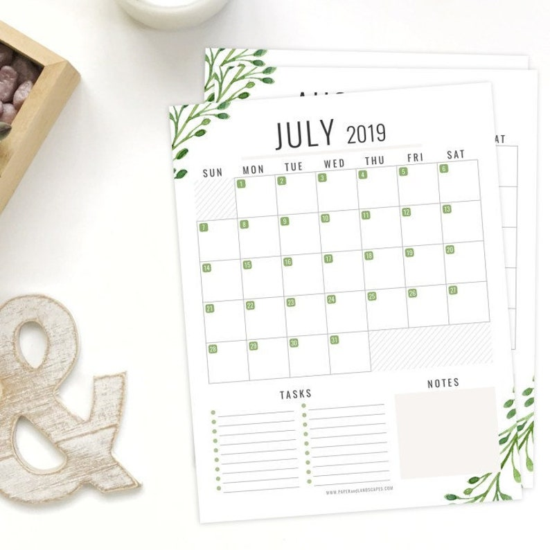 2019 December Calendar No Boxes 12 Printable 2019 Calendars Letter Size January to | Etsy