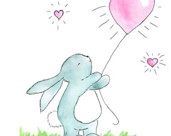 "bunny with balloon and affirmation ""I am loveable just the way I am"""