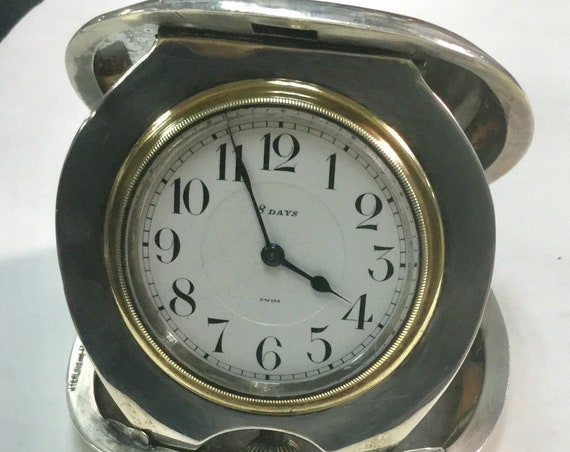 1910s Octava Sterling Silver 8 Day Swiss Folding Desk Clock 3 1/4 inches high Running