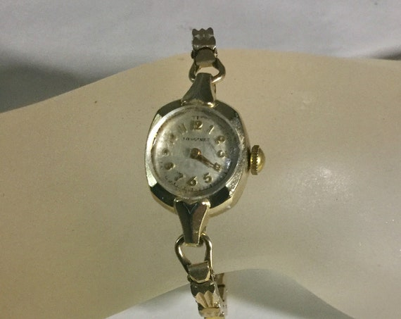 1950s Longines Lady 10K Gold Filled Wrist Watch with Gold Filled Expansion Band 15mm by 26mm