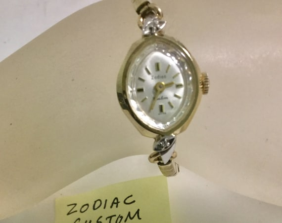 1960s Zodiac Ladys Custom Model  Wrist Watch Hand Wind Gold Plaque 17mm by 28mm