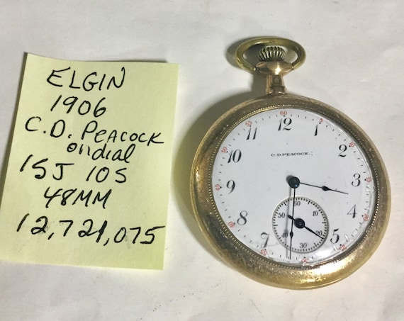 1906 Elgin Pocket Watch CD Peacock Dial 15J 10S 48mm