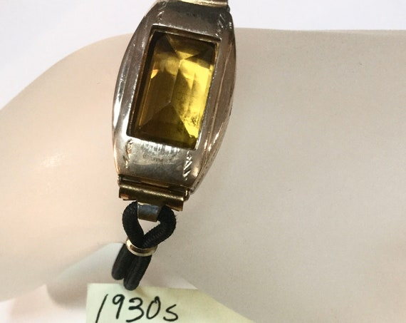 1930s Gold Filled Watch Case with Citrine Gemstone and Corc Band 17mm by 30mm 7 inches long