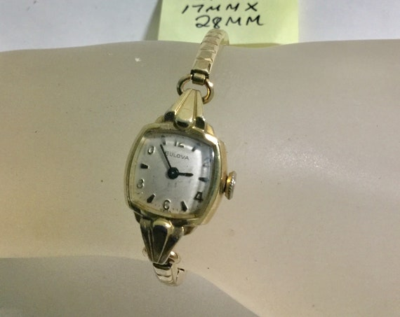 1969 Bulova Lady's Hand Wind Wristwatch 17mm by 28mm with Expansion Band