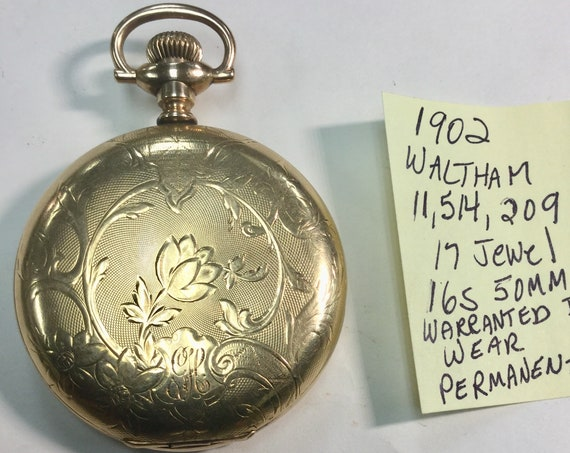 1902 Waltham  Pocket Watch Gold Filled Hunting Case  16S 17J 50mm