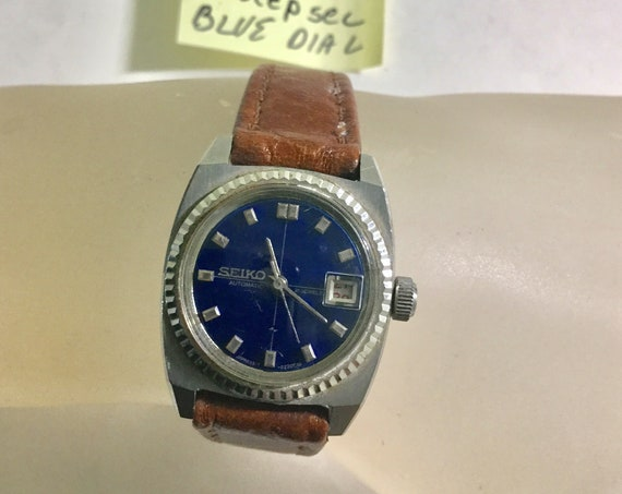 1970s Seiko Ladys Wristwatch Stainless 21J Automatic Blue Dial Date 24mm