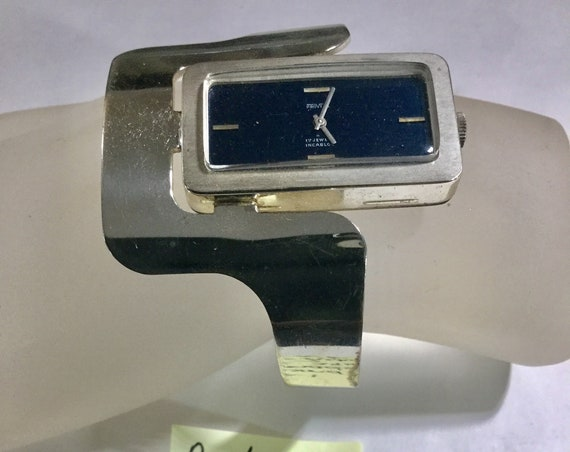 Mid Century ProVita Sterling Silver 17J Swiss Abstract Design Wristwatch