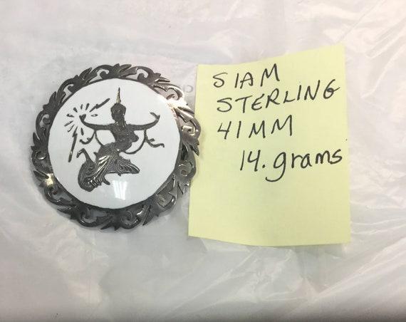1950s Siam Sterling Silver Brooch 41mm 14 grams