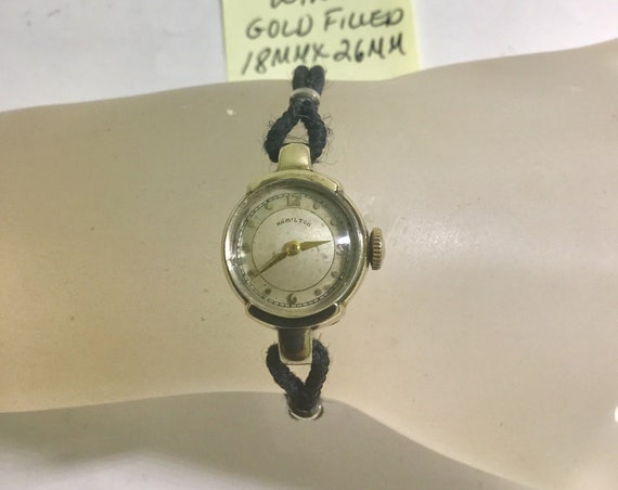 1940s Ladys  Hamilton Hand Wind Wristwatch Gold Filled Case with Cord Band 18mm by 26mm