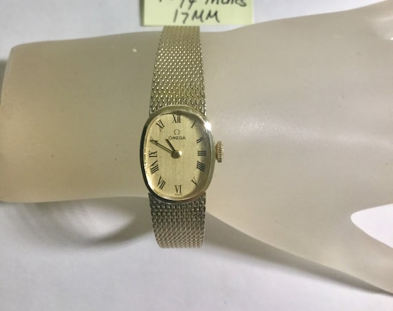 1970s Omega Ladys Hand Wind Wristwatch Gold Filled Case and Band 17mm 7 3/4 inches