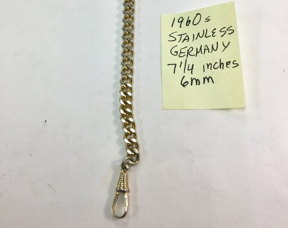 1960s Stainless Steel Pocket Watch Chain signed Germany 7 1/4 inches 6mm