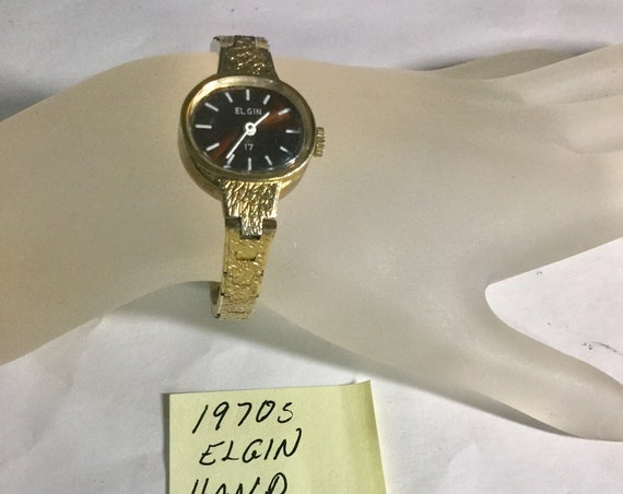 1970s Elgin Ladys Hand Wind Wristwatch 17J 20mm 6 3/4 inches