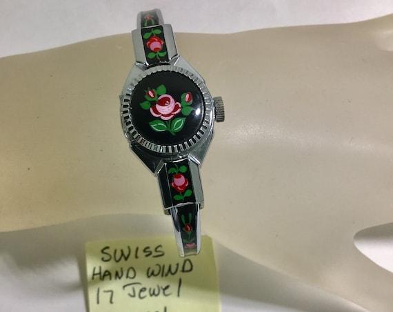 1960s Lady's Hand Wind Swiss Peek A Boo Enamel Bangle Watch 18mm