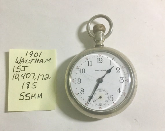 1901 American Waltham Pocket Watch  15 Jewel 18 Size 55mm