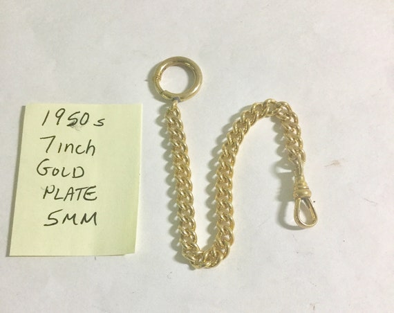 1950s Pocket Watch Chain 7 inches 5mm Gold Plate Unworn