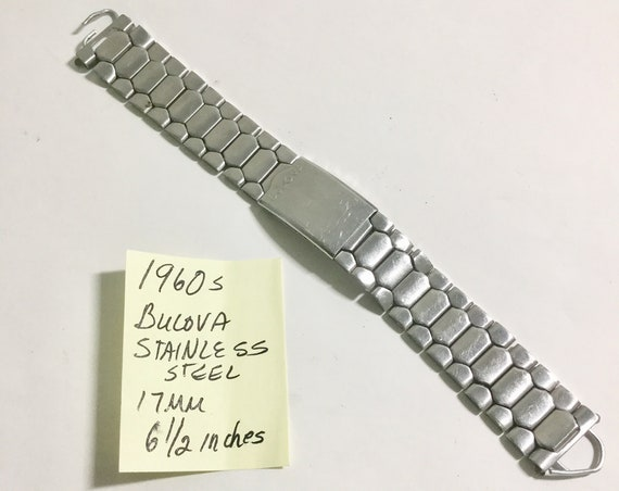 1960s  Bulova Band Stainless Steel 17mm Ends 6 1/4 Inches long