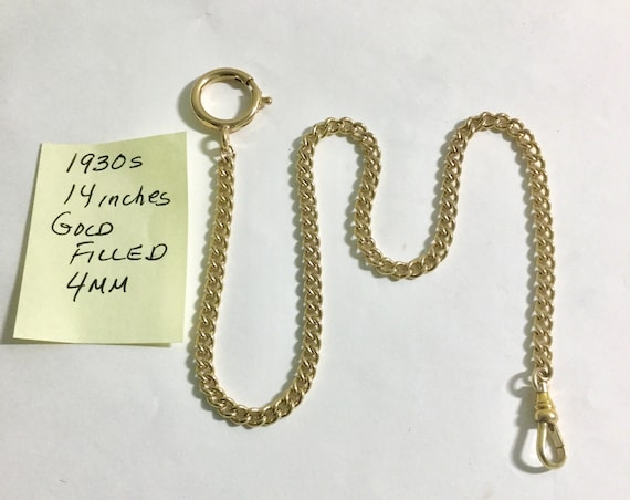 1930s Pocket Watch Chain Gold Filled 14 inches 4mm