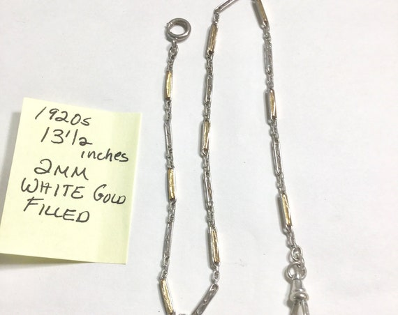 1920s Pocket Watch Chain White Gold Filled 13 1/2 Inches 2mm