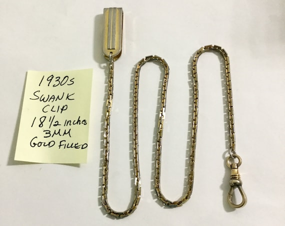1930s Pocket Watch Chain 18 1/2 inches 3mm Gold Filled with Swank Clip
