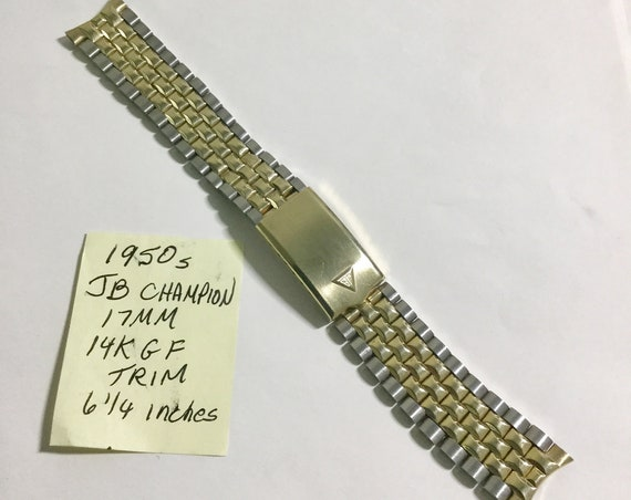 1950s JB Champion Two Tone Jubilee Band 17mm Ends 6 1/4 inches
