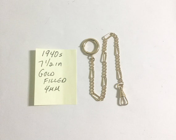 1940s Pocket Watch Chain Gold Filled 7 1/2 inches 4mm