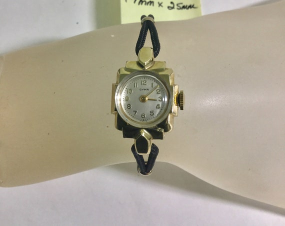 1940s Ladys Cyma Gold Filled Hand Wind Wristwatch 17mm by 25mm With Cord Band