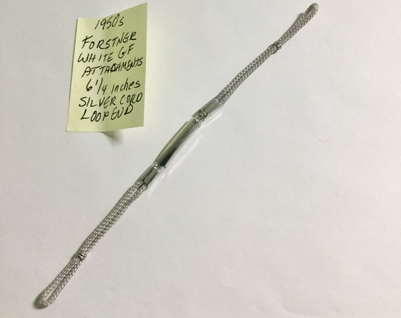 1950s Ladys Forstner White Gold Filled Silver Cord Loop End Band 6 1/4 inches