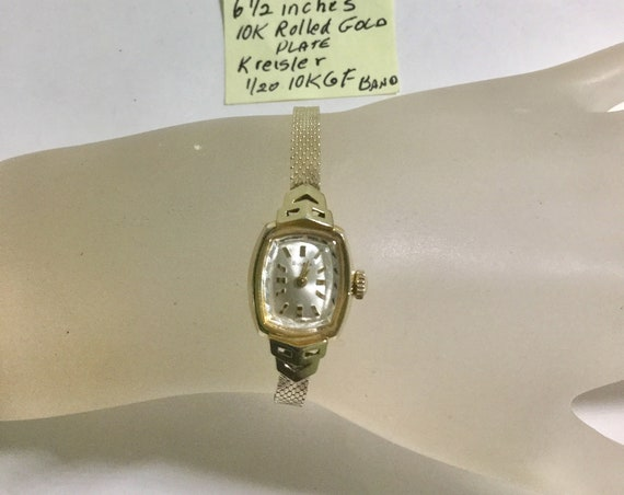 1968 Bulova Lady's Hand Wind Gold Filled Watch with Kreisler Gold Filled Band 13mm by 25mm 6 1/2 Inches