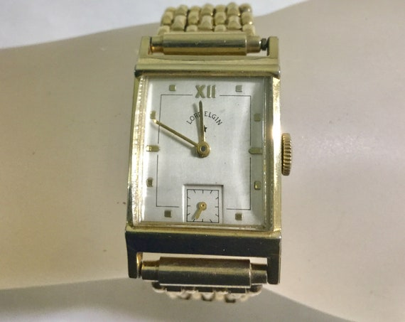 1940s Lord Elgin Gold Filled Wristwatch with Hadley Expansion Band Running