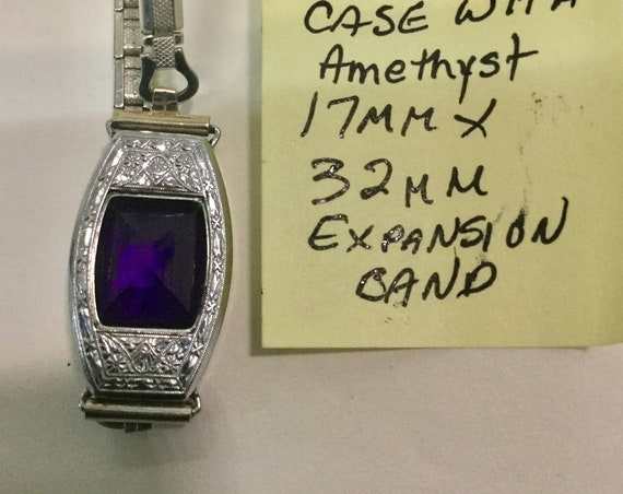 1920s Watch Case with Amethyst Insert 17mm by 32mm with Expansion Band