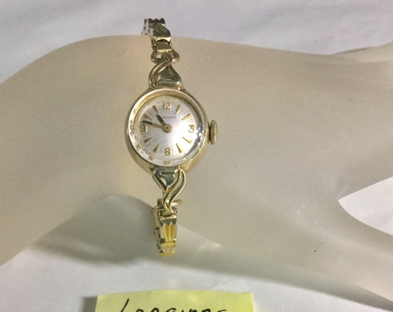 1960s Ladys Longines Hand Wind Wristwatch Gold Filled 17mm by 30mm Expansion Band