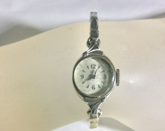 1960s Ladys Elgin Hand Wind White Gold Filled Watch with Expansion Band 14mm by 26mm