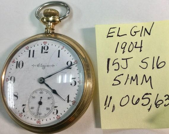 1904 Elgin Pocket Watch 15J 16S 51mm Gold Filled Case Running