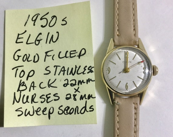 1950s Ladys Elgin Hand Wind Nurses Watch Gold Filled 22mm by 28mm Running