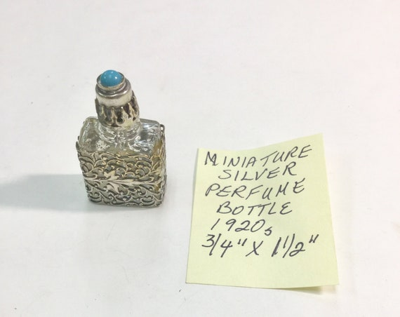 1920s Silver Miniature Perfume Bottle 3/4 inches 1 1/2 inches