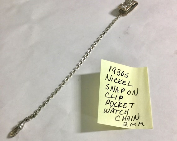 1930s Pocket Watch Chain Nickel Snap on Clip 6 1/2 inches 2mm
