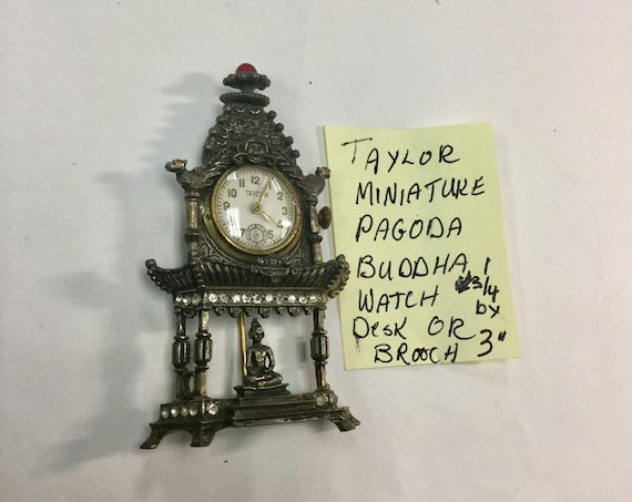 1930s Taylor Miniature Desk Clock or Brooch Pagoda with Buddha 1 1/4 inches by 3 inches