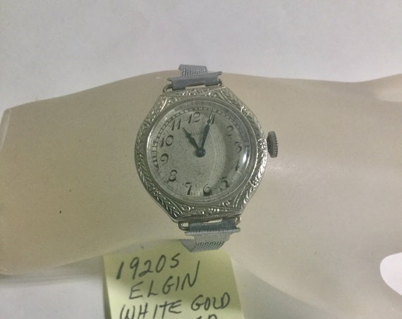 1920s Elgin Ladys Hand Wind Wristwatch White Gold Filled Running 27mm