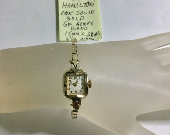 1950s Ladys Hamilton Hand Wind 14k Solid Gold Wristwatch 15mm by 28mm