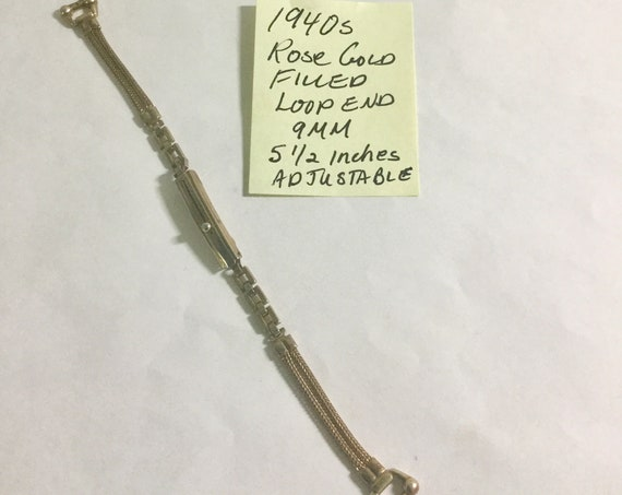 1940s Ladys Rose Gold Filled Loop End Band  9mm Ends 5 1/2 Inches Adjustable