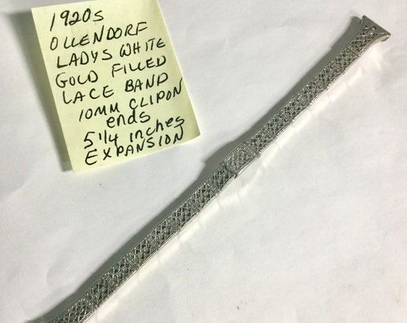 1920s Ollendorff White Gold Filled Lace Band 10mm Ends 5 1/4 inches Expansion
