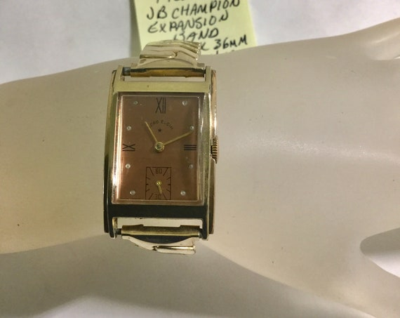 1948 Lord Elgin Rose Gold Filled Wristwatch with JB Expansion Band 23mm by 36mm Running