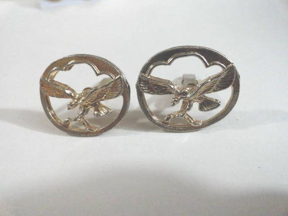 Vintage Gold Tone Cuff Links Birds in Flight 1 inch