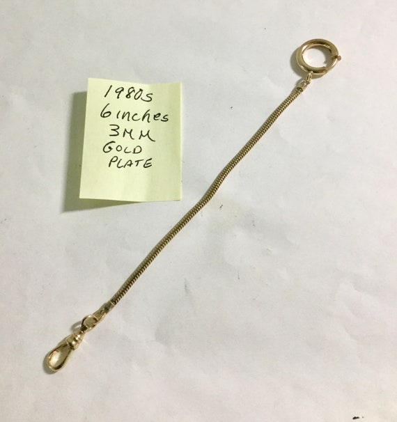 1980s Pocket Watch Chain 6 Inches 3mm Gold Plate