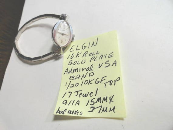 Vintage 1960s Elgin Ladys Wrist Watch For Parts or Repair 15mm by 27mm with Admiral USA Expansion Band