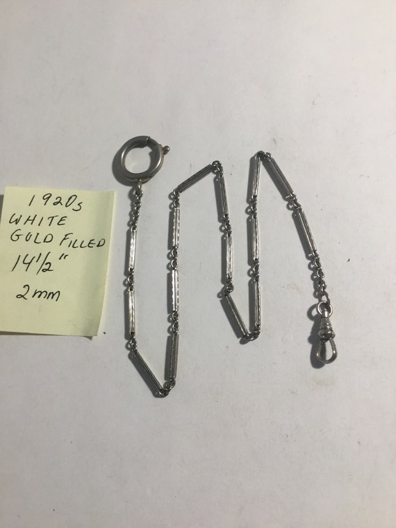 "1920s White Gold Filled Pocket Watch Chain 14 1/4"" 2mm"