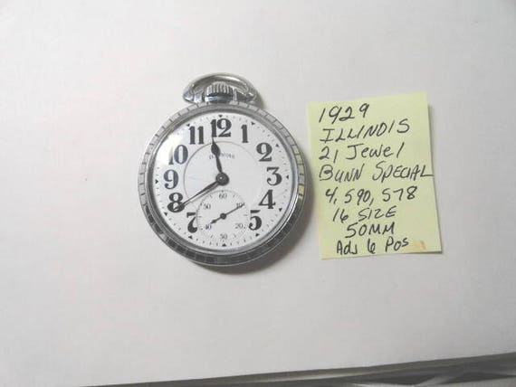 1929 Illinois Bunn Special  21 Jewel  Adj 6 Positions Railroad Pocket Watch  16 Size 50mm